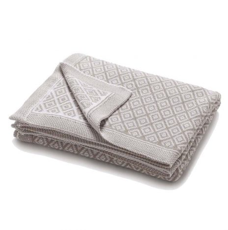 Bordeaux knitted throw – Stone/White