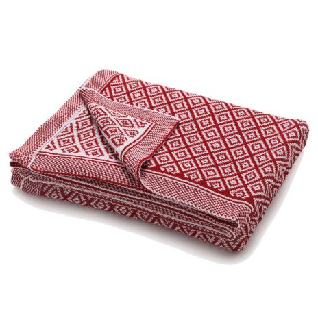 Bordeaux knitted throw – Red/white