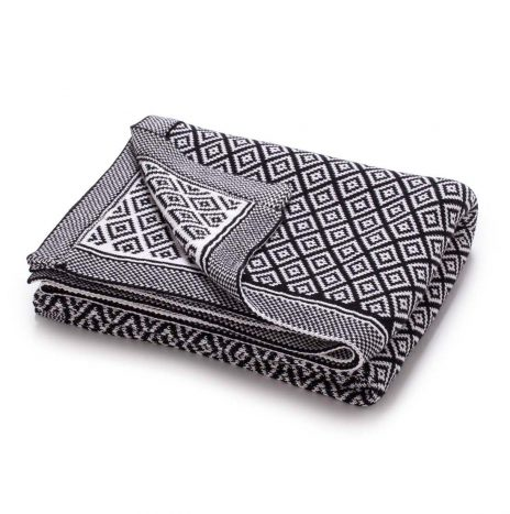 Bordeaux knitted throw – Black/white