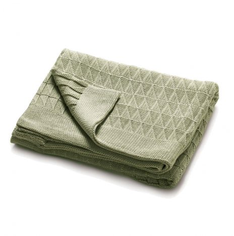 Teddy Knitted Throw – Green