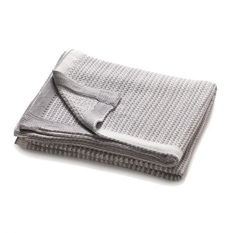Charlotte Knitted Throw – Light Grey/White