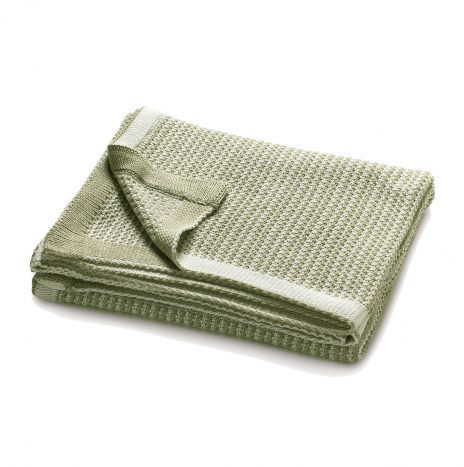 Charlotte Knitted Throw – White/Green
