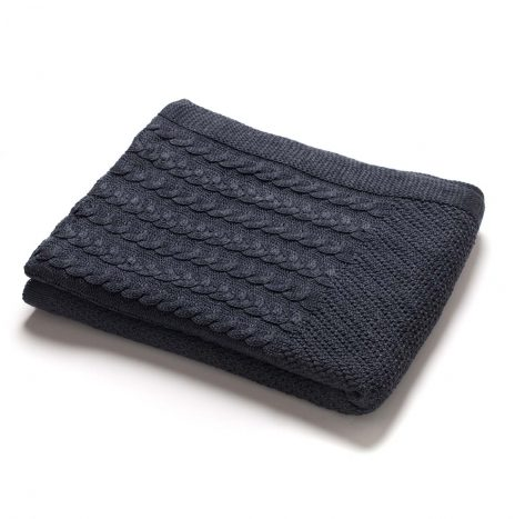 Madison Knitted Throw – Dark Grey