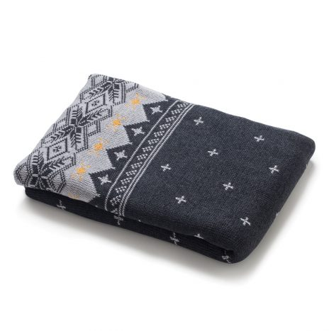 Harold Knitted Throw – Dark Grey