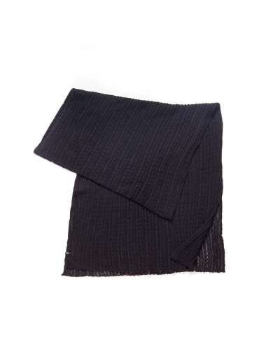 Cable Knit Shawl - Black
